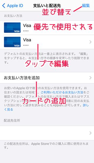 iPhoneクレジットカードの変更・複数登録