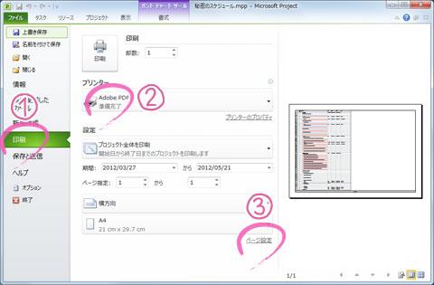 Microsoft ProjectのスケジュールをPDFで1ページに出力する方法