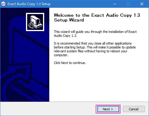 Exact Audio Copy (EAC)のインストール手順