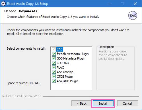 Exact Audio Copy (EAC)のインストール開始