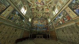 システィーナ礼拝堂天井画の最後の審判とアダムの創造を360度見渡す方法