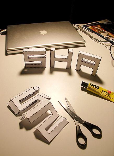 3Dのペーパークラフトの文字を作成