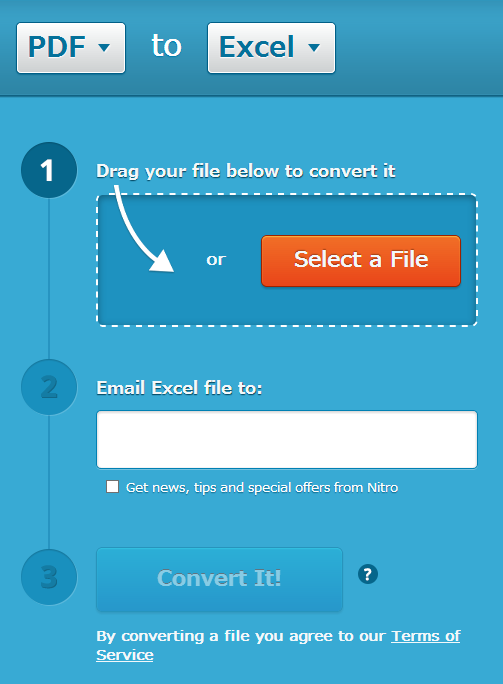 Nitro Cloud PDF to Excelの使い方