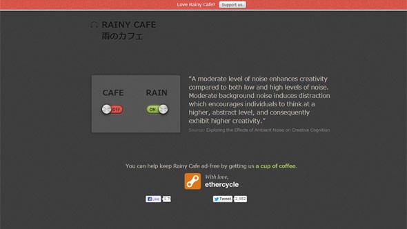 ホワイトノイズを考慮して作られたRAINY CAFE