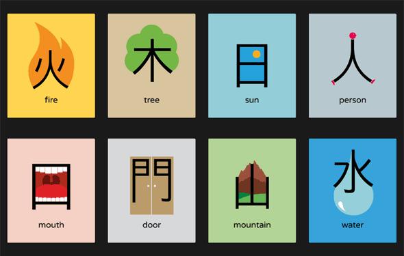 グラフィカルに漢字をデザインすることで理解しやすくする