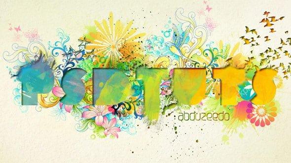 水彩絵の具風のロゴ。