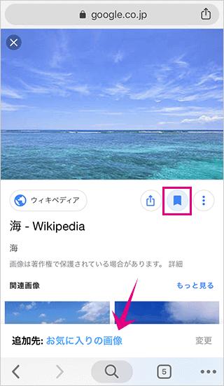 Googleで検索した画像をコレクションに追加