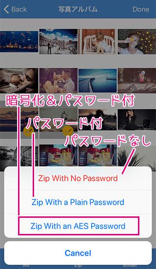 iZipでパスワード付きを選択