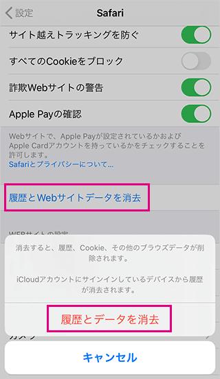 iPhoneのSafariの履歴とデータを削除