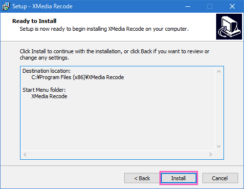 Installをクリックしてインストール開始