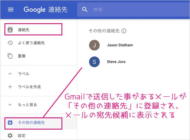 Google連絡先とその他の連絡先