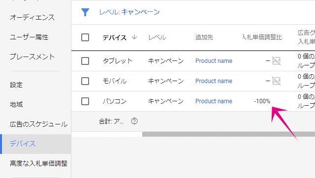 Google広告でモバイルのみに広告表示