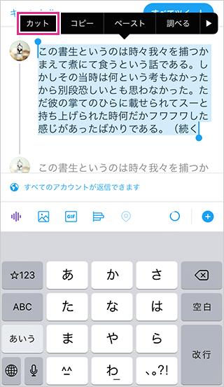 ツイッターの個別スレッドの文字を削除