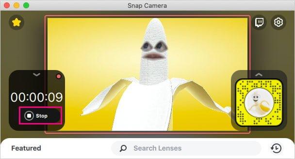 Snap Cameraのビデオ録画