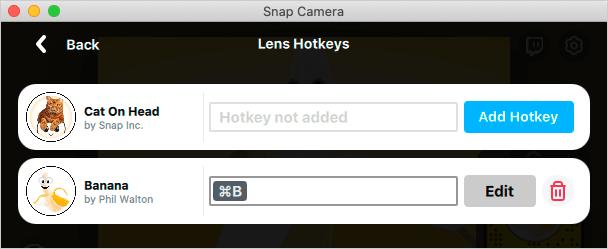 Snap Cameraのお気に入りのホットキー登録完了
