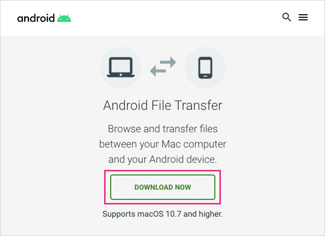 Android File Transferをダウンロード
