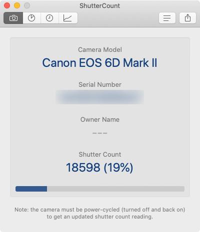 Canonカメラのシャッター回数の確認